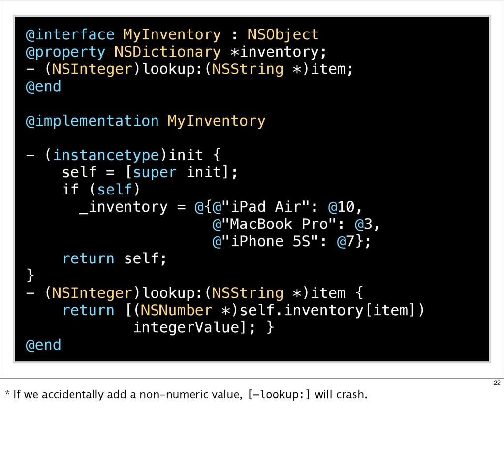@interface MyInventory : NSObject @property NSD...