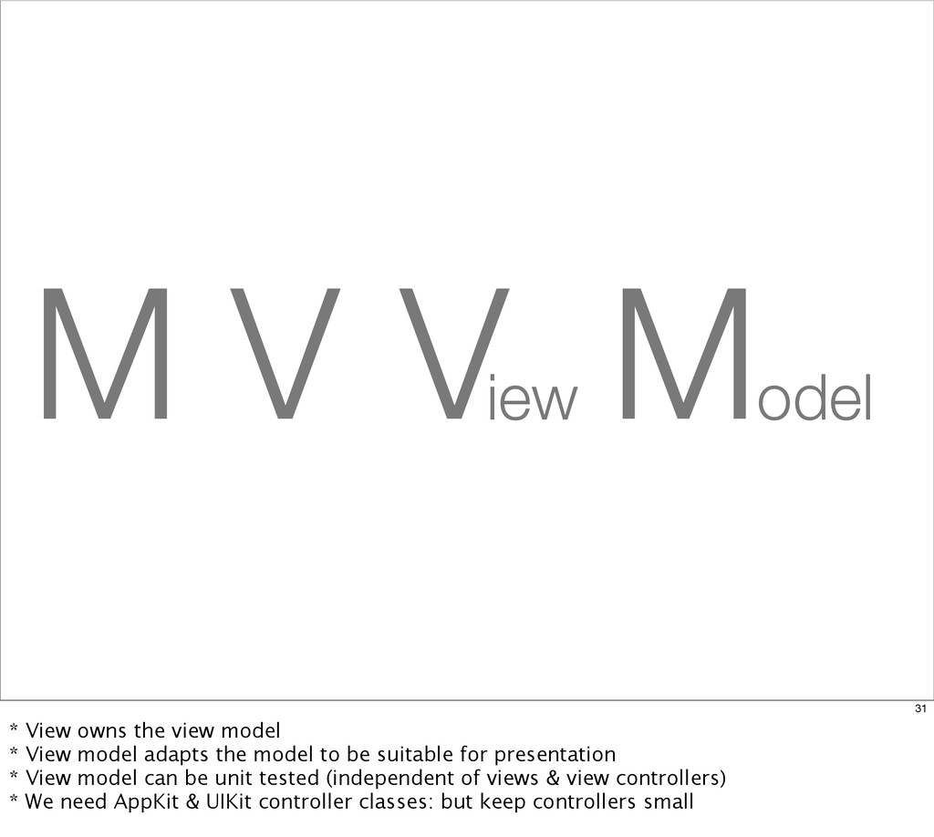M V C V M iew odel 31 * View owns the view mode...