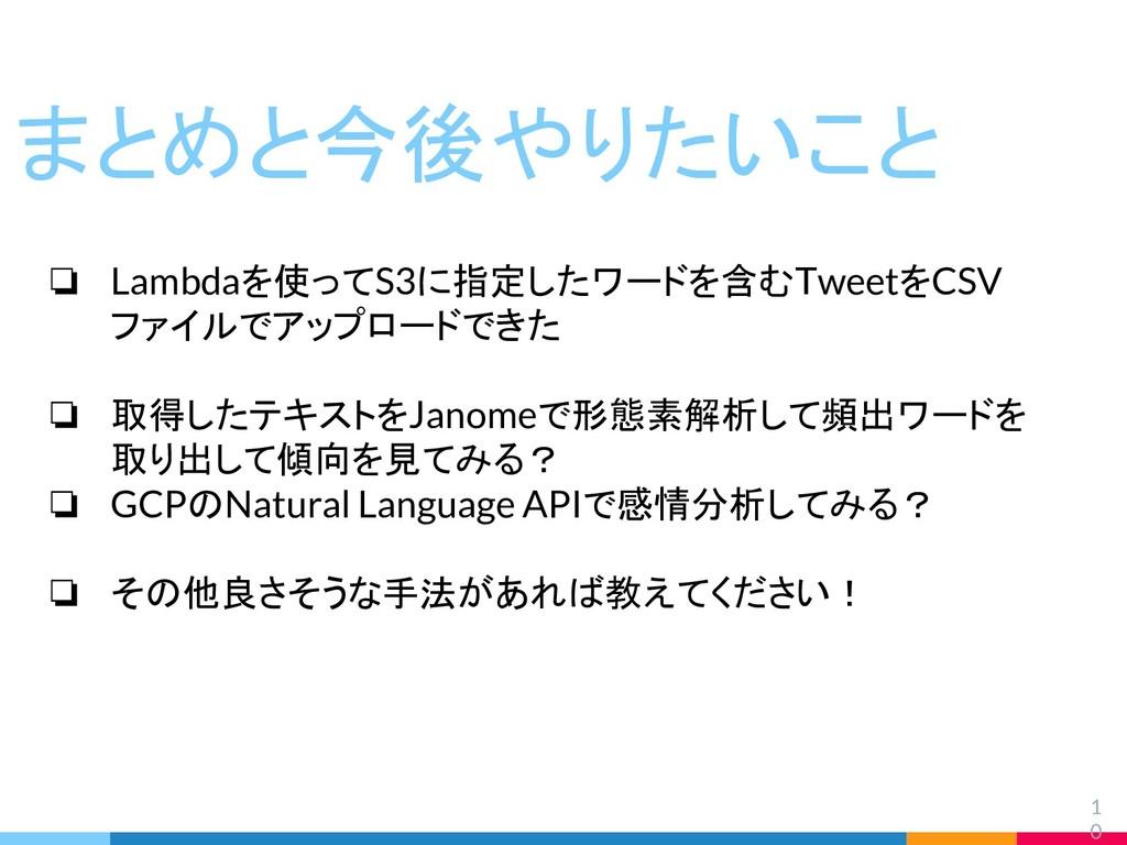 1 0 まとめと今後やりたいこと ❏ Lambdaを使ってS3に指定したワードを含むTweet...