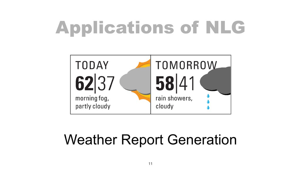 Applications of NLG 11 Weather Report Generation