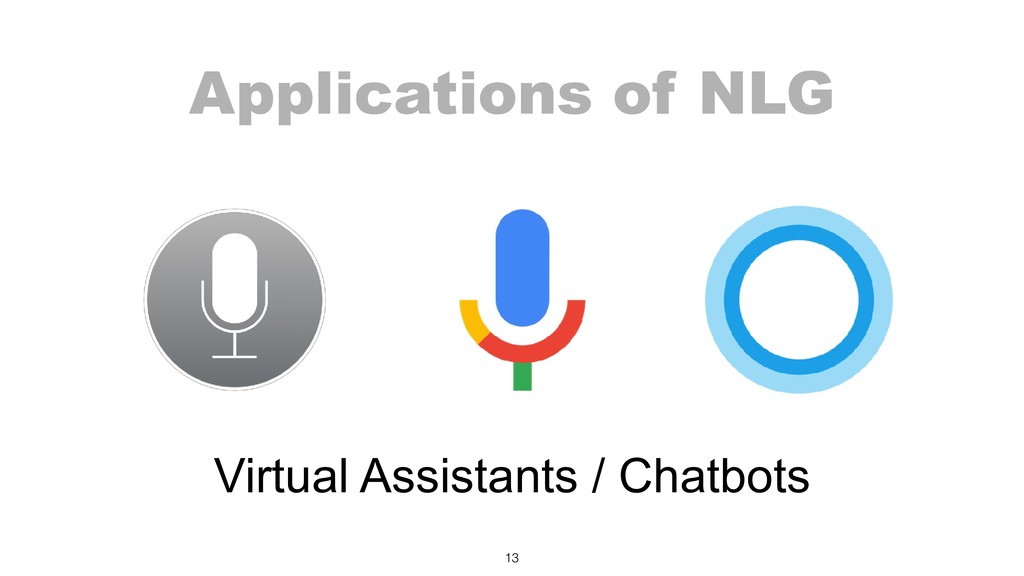 Applications of NLG 13 Virtual Assistants / Cha...