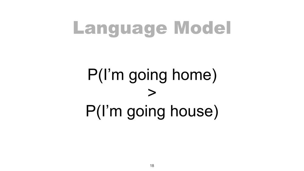 Language Model P(I'm going home) > P(I'm goin...