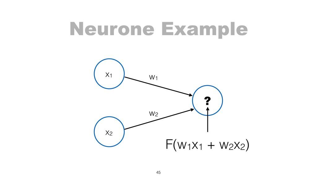 Neurone Example 45 x1 w2 w1 x2 ? F(w1x1 + w2x2)