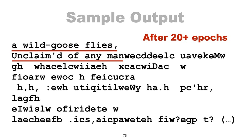 Sample Output a wild-goose flies, Unclaim'd of ...