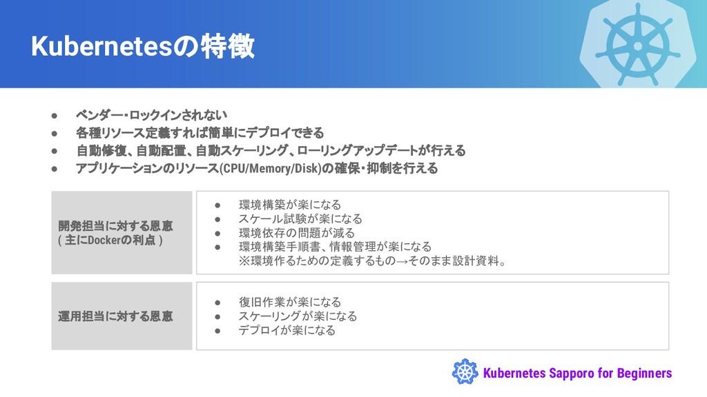 Kubernetes Sapporo for Beginners Kubernetesの特徴 ...