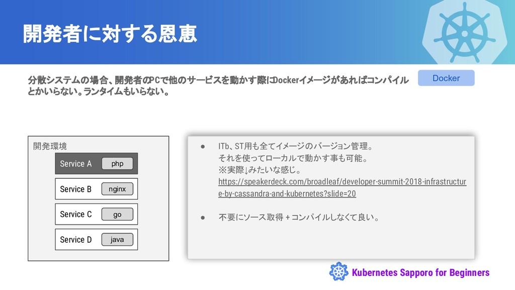 Kubernetes Sapporo for Beginners 開発環境 開発者に対する恩恵...