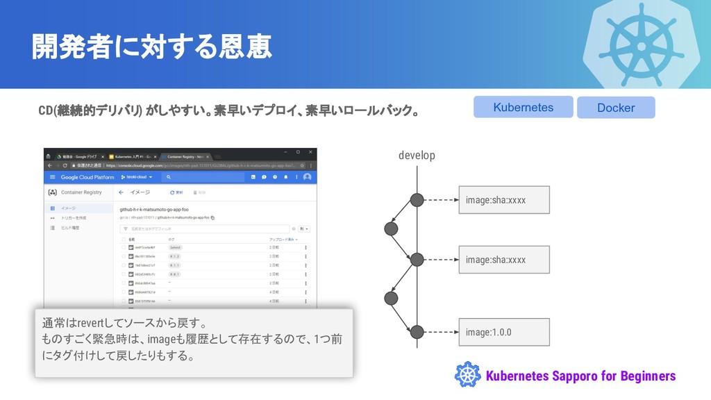 Kubernetes Sapporo for Beginners 開発者に対する恩恵 deve...