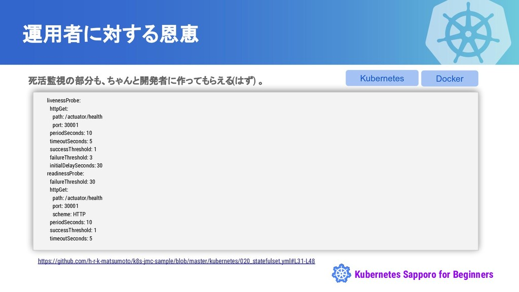 Kubernetes Sapporo for Beginners 運用者に対する恩恵 死活監視...