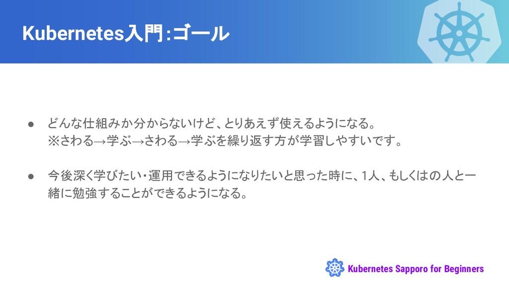 Kubernetes Sapporo for Beginners Kubernetes入門:ゴ...