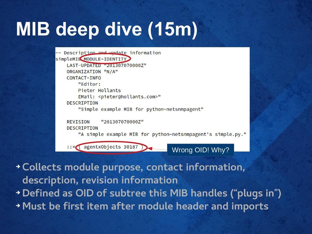 MIB deep dive (15m) ➔ Collects module purpose, ...