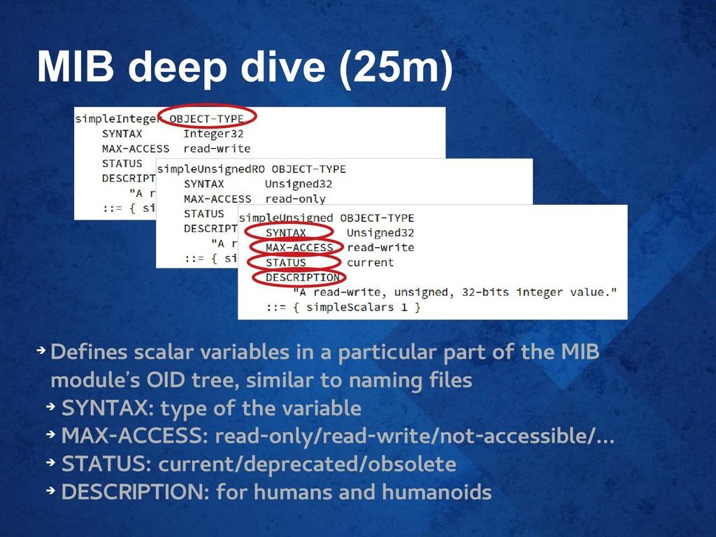 MIB deep dive (25m) ➔ Defines scalar variables ...