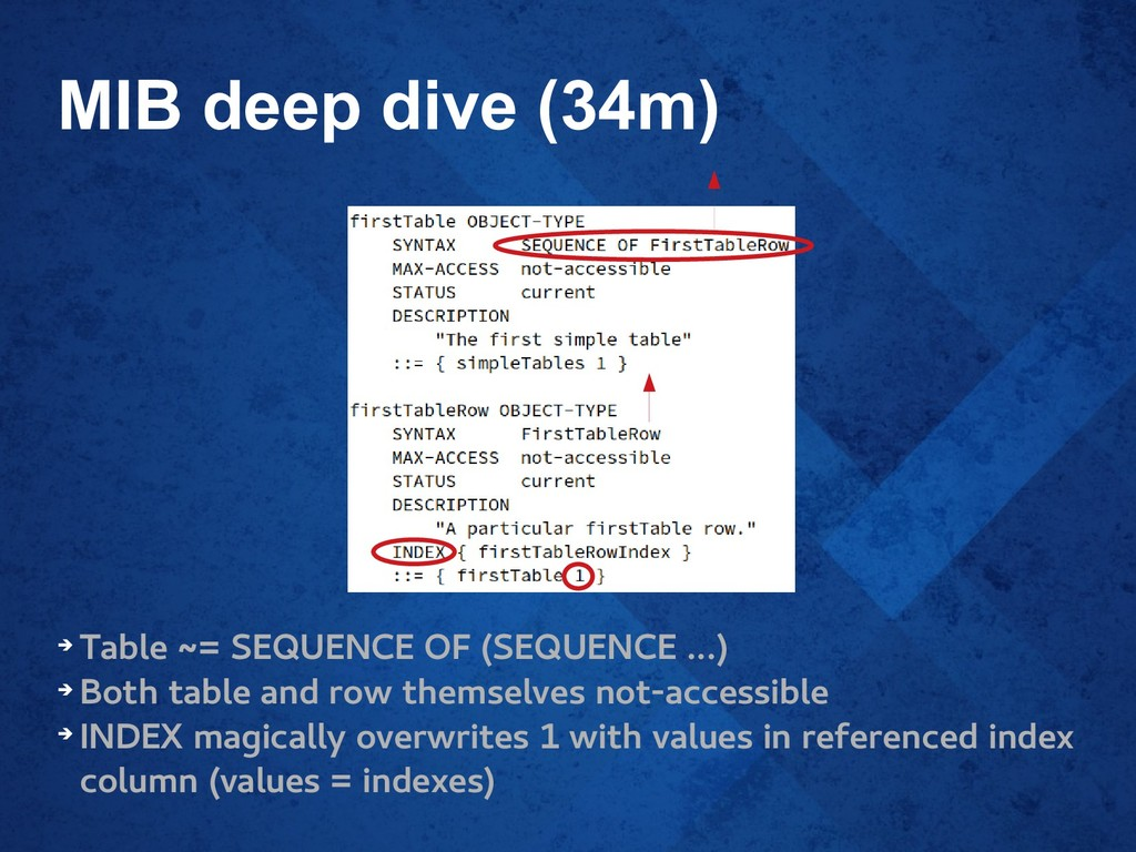 MIB deep dive (34m) ➔ Table ~= SEQUENCE OF (SEQ...