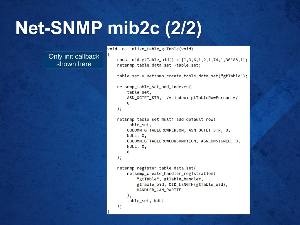Net-SNMP mib2c (2/2) Only init callback shown h...