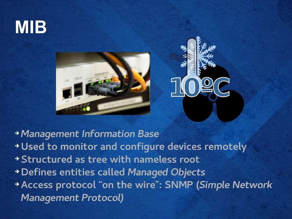 MIB ➔ Management Information Base ➔ Used to mon...