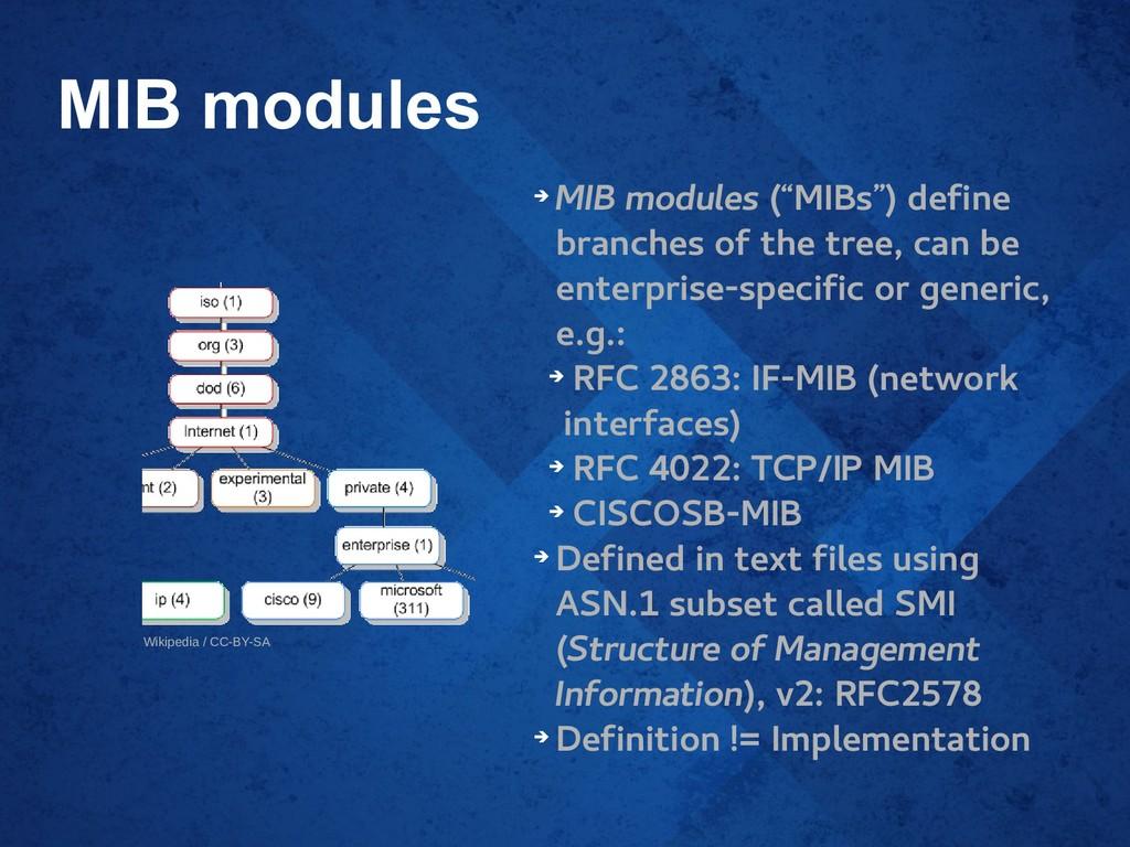 """MIB modules ➔ MIB modules (""""MIBs"""") define branc..."""