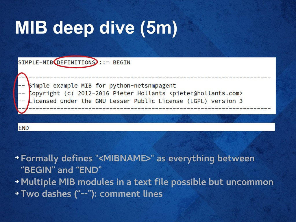 """MIB deep dive (5m) ➔ Formally defines """"<MIBNAME..."""