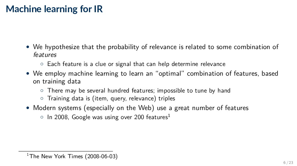 Machine learning for IR • We hypothesize that t...