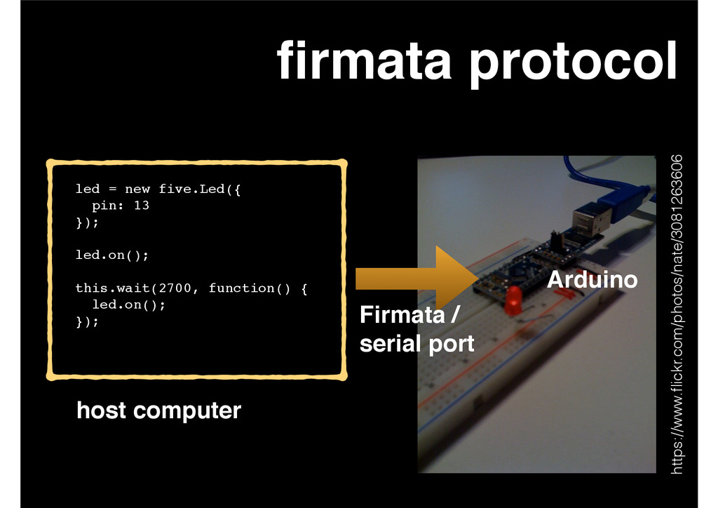 firmata protocol led = new five.Led({! pin: 13! ...