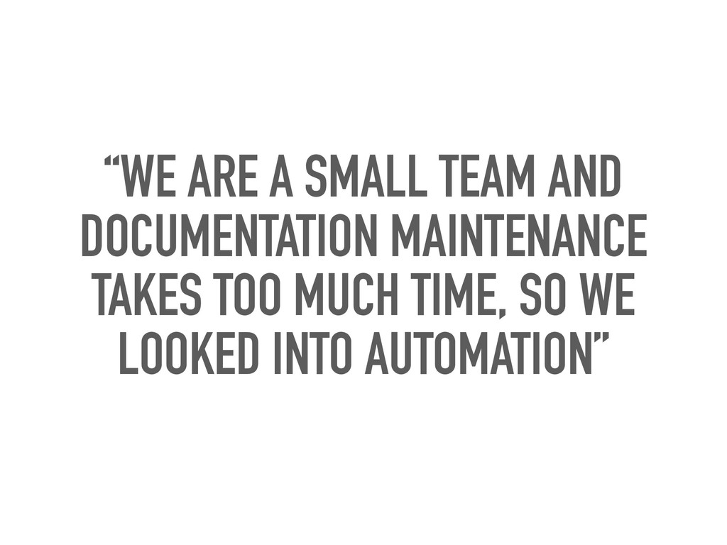 """""""WE ARE A SMALL TEAM AND DOCUMENTATION MAINTENA..."""