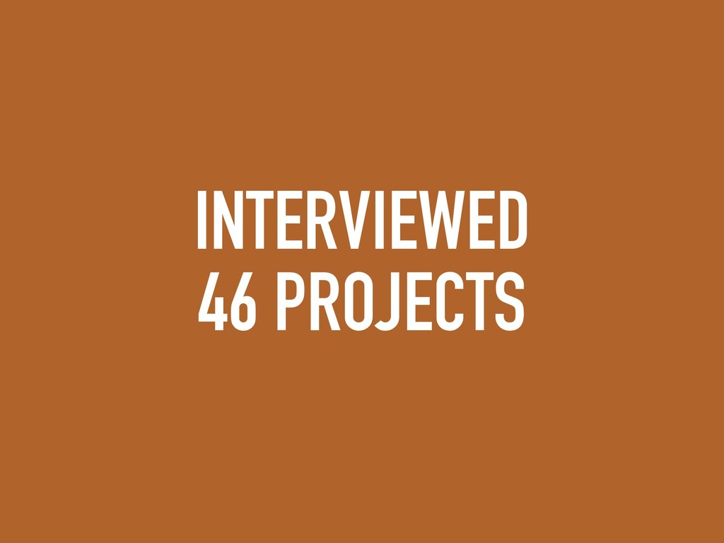 INTERVIEWED 46 PROJECTS