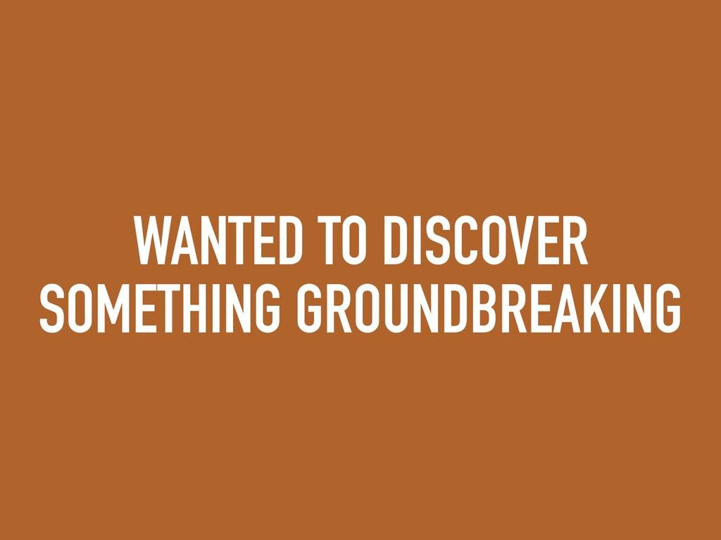 WANTED TO DISCOVER SOMETHING GROUNDBREAKING