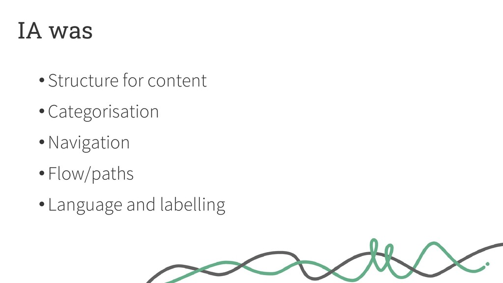 IA was •Structure for content •Categorisation •...