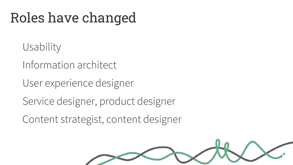 Roles have changed Usability Information archit...