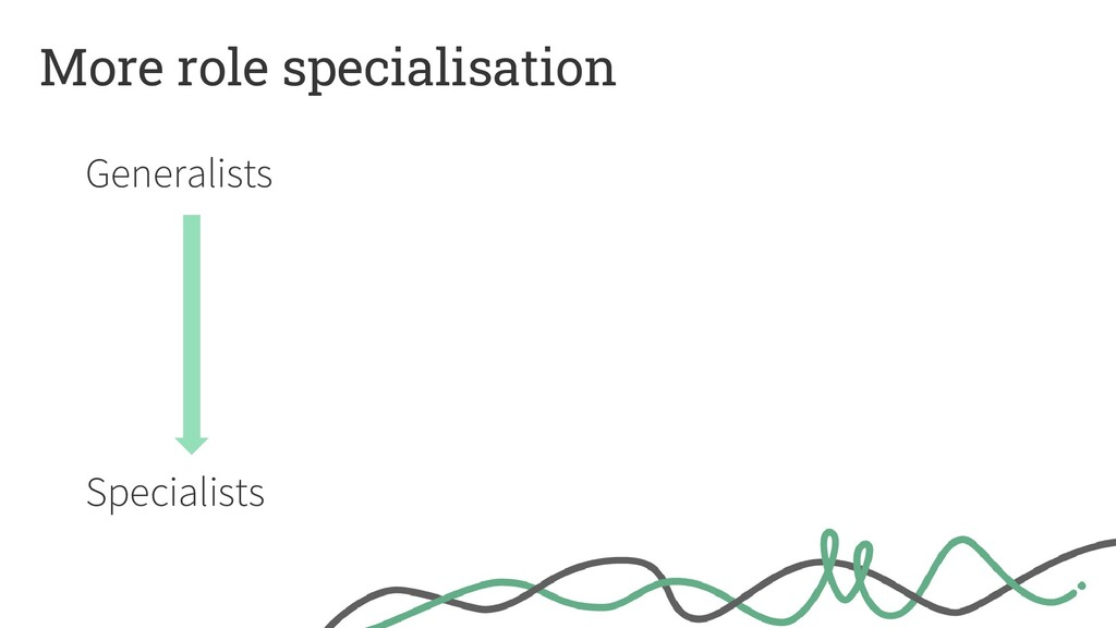 More role specialisation Generalists Specialists