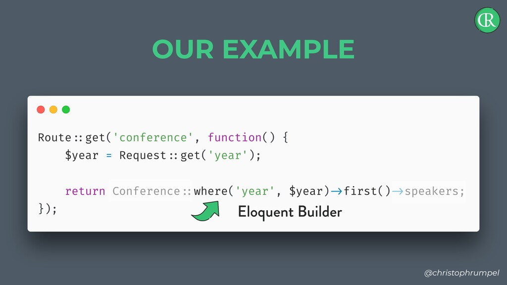 @christophrumpel OUR EXAMPLE Eloquent Builder