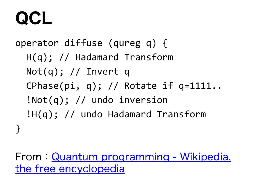 operator diffuse (qureg q) { H(q); // Hadamard ...