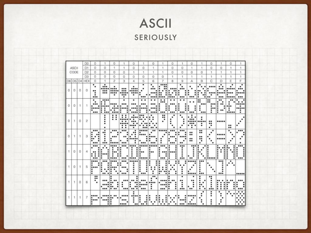ASCII SERIOUSLY