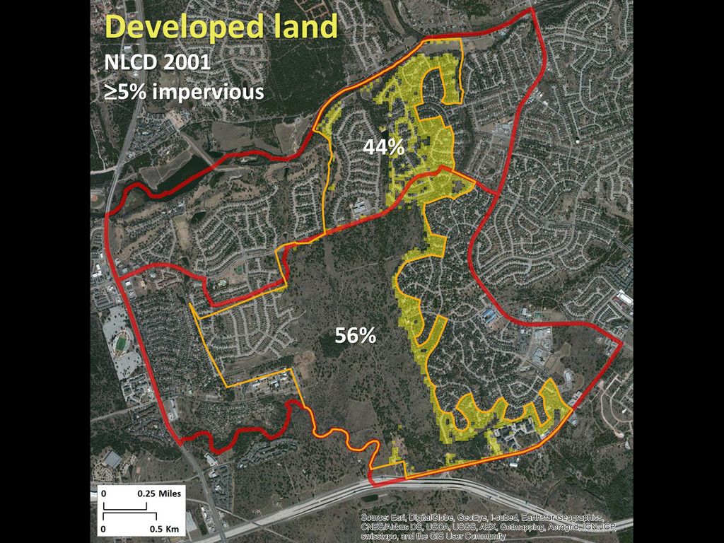 44% 56% Developed land NLCD 2001 5% impervious