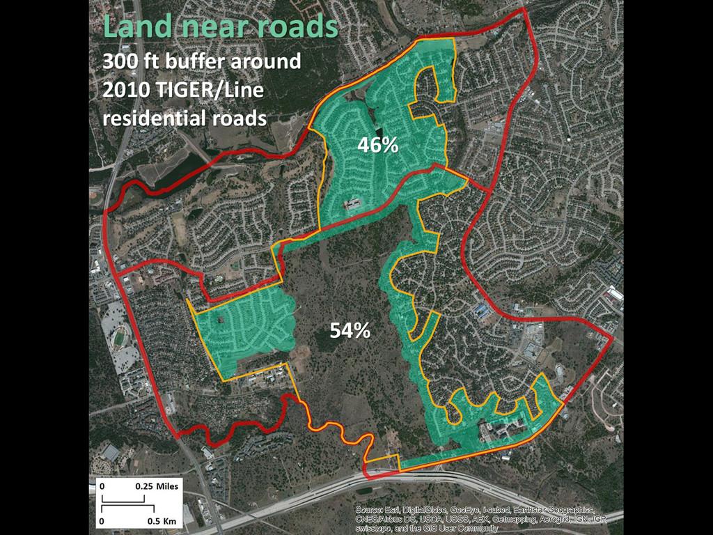 46% 54% Land near roads 300 ft buffer around 20...