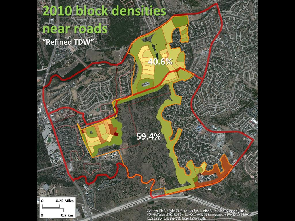 """40.6% 59.4% 2010 block densities near roads """"Re..."""