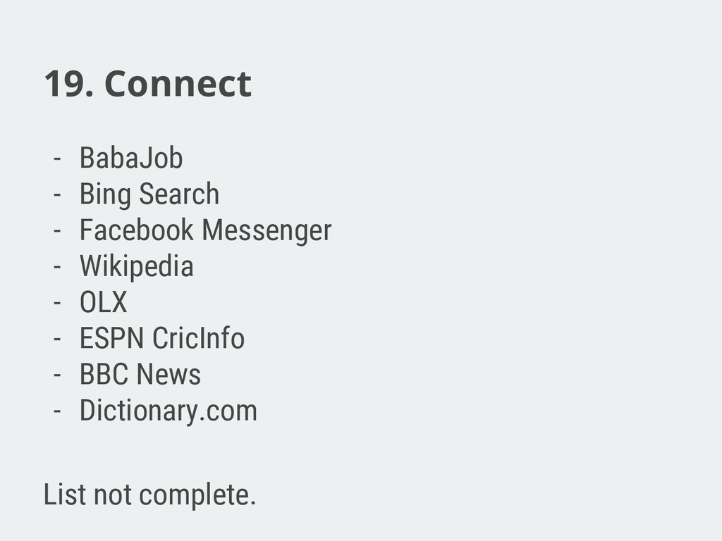 19. Connect - BabaJob - Bing Search - Facebook ...
