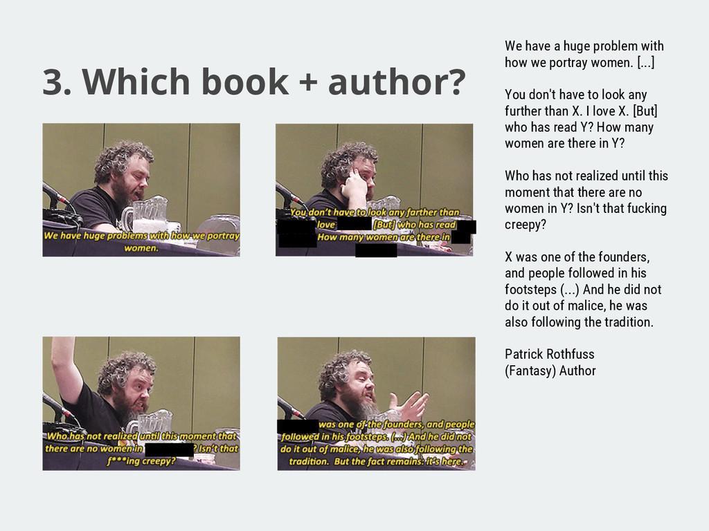 3. Which book + author? We have a huge problem ...
