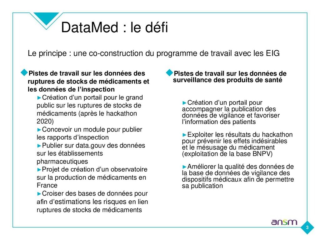 DataMed : le défi 3 ◆Pistes de travail sur les ...