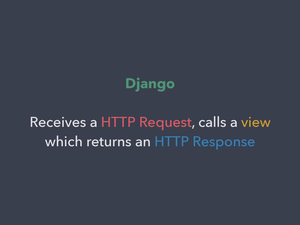 Django Receives a HTTP Request, calls a view wh...