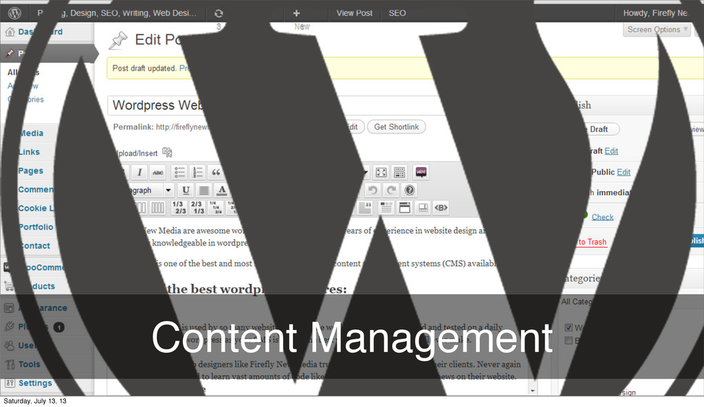 Content Management Monday, August 12, 13