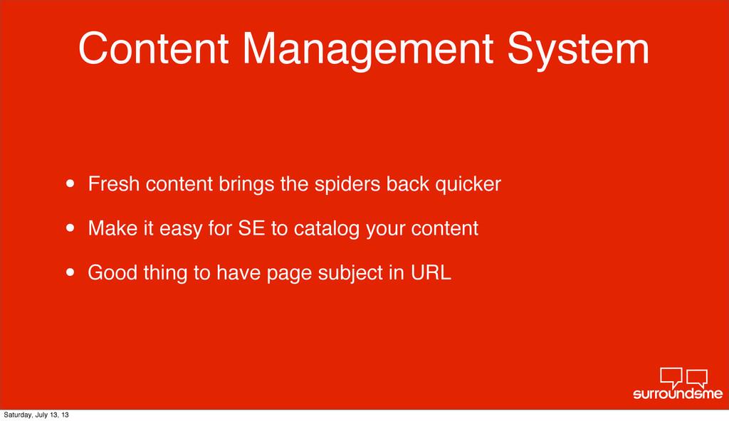 Content Management System • Fresh content bring...