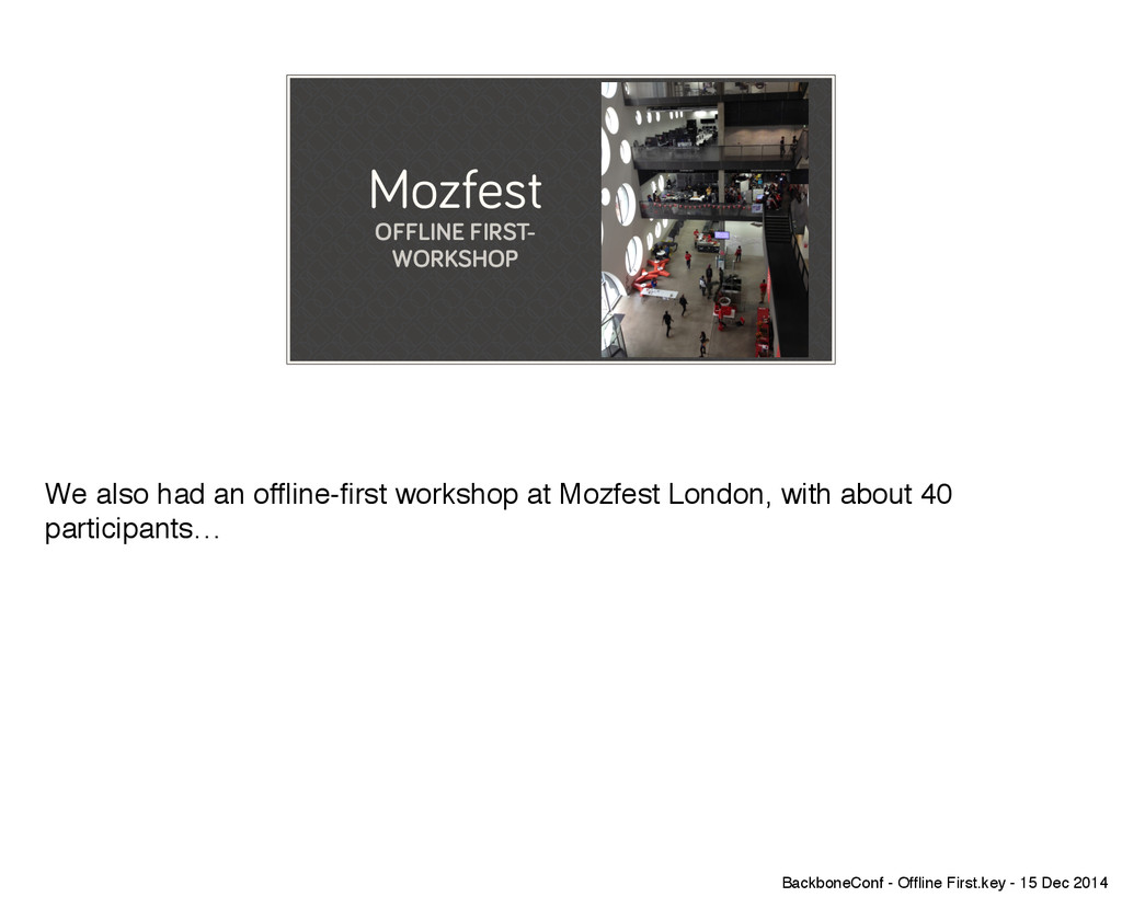 Mozfest OFFLINE FIRST- WORKSHOP We also had an ...
