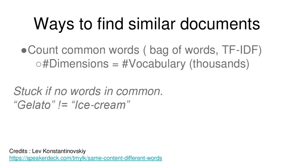 Ways to find similar documents ●Count common wo...