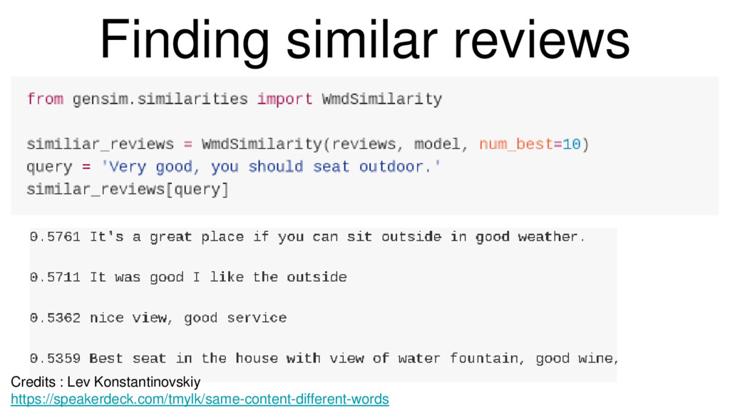 Finding similar reviews from gensim.similaritie...