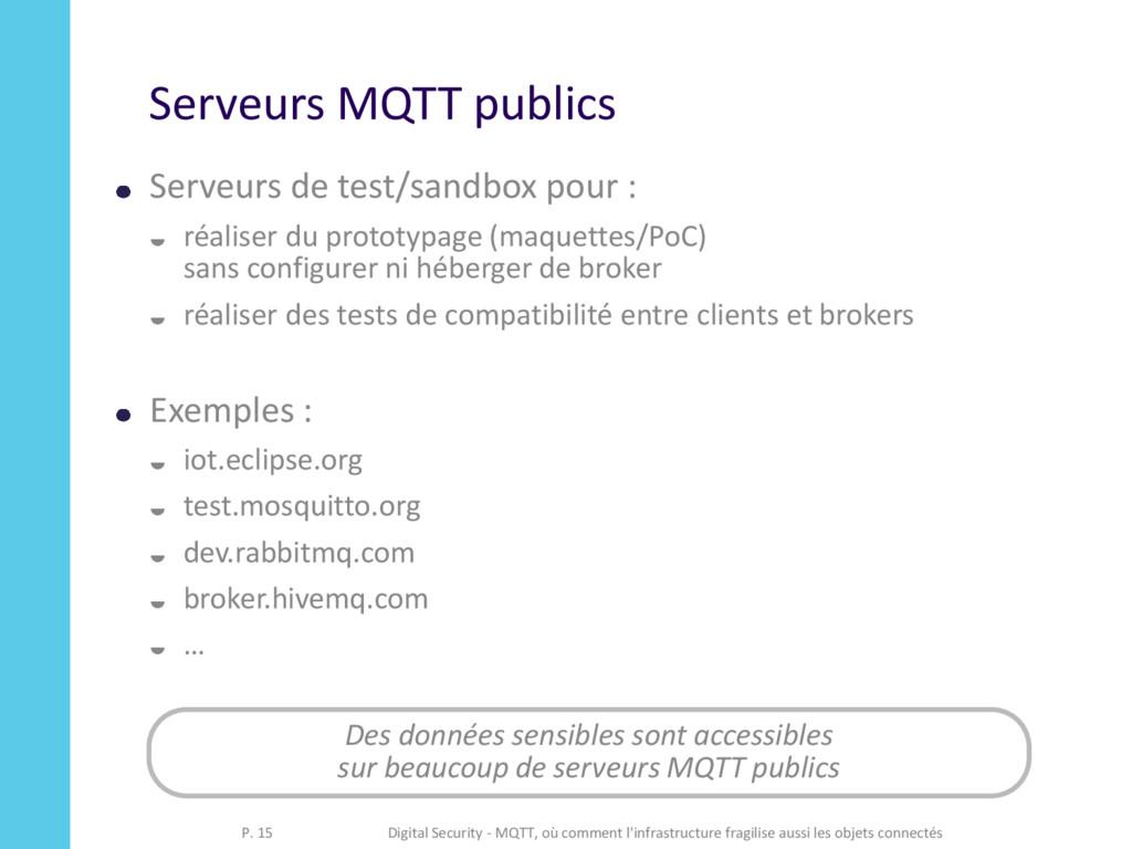 Serveurs MQTT publics Serveurs de test/sandbox ...