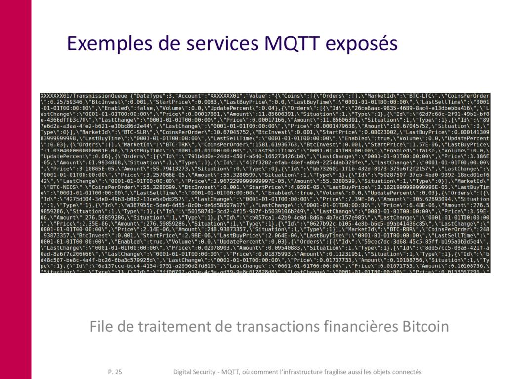 Exemples de services MQTT exposés File de trait...