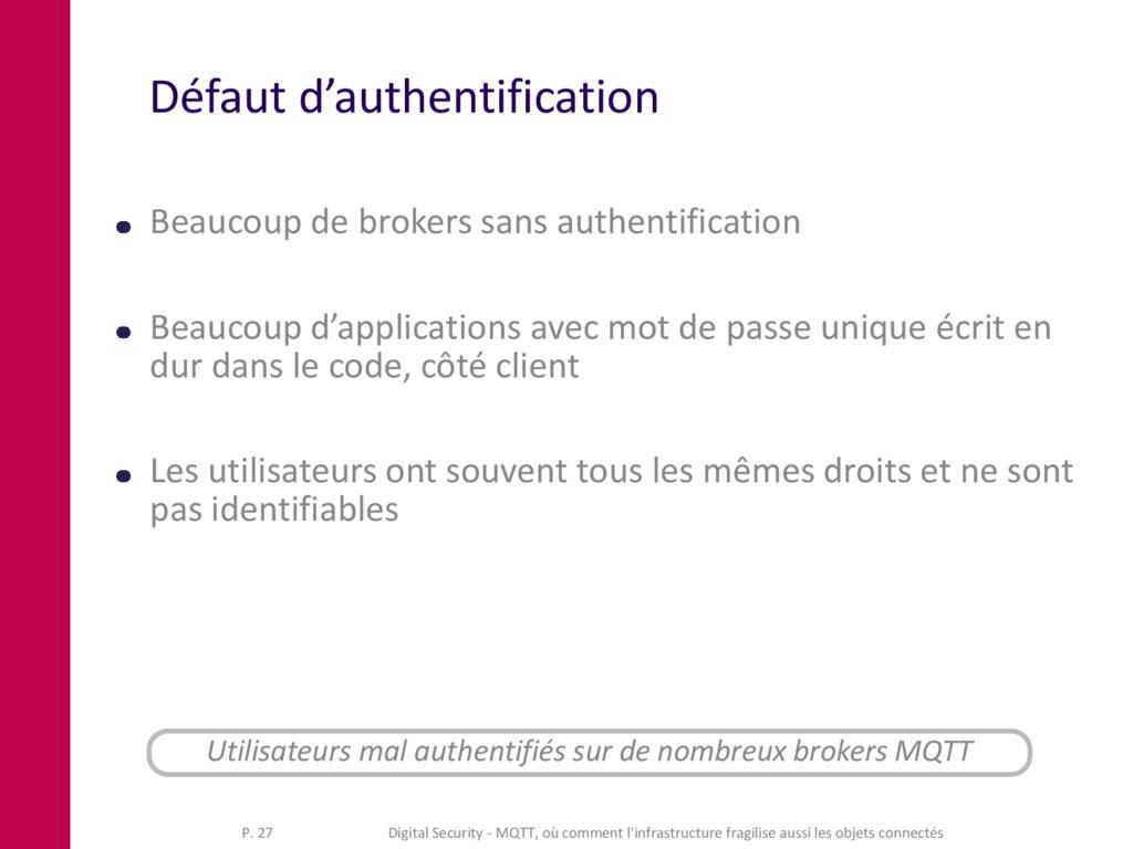 Défaut d'authentification Beaucoup de brokers s...