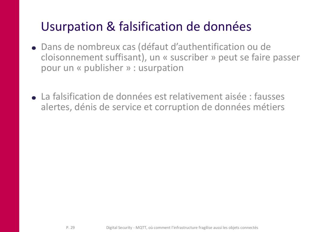 Usurpation & falsification de données Dans de n...