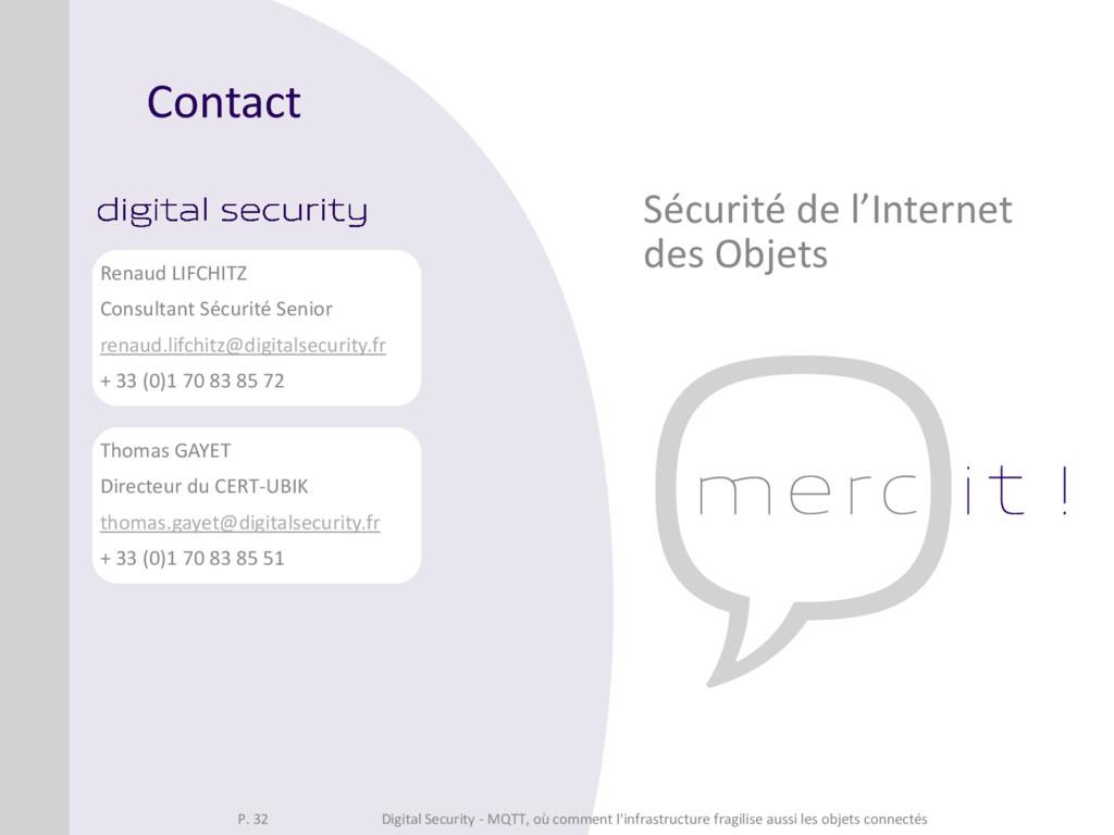 Contact Sécurité de l'Internet des Objets Thoma...