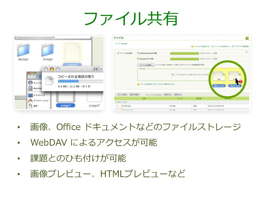 ファイル共有 • 画像、Office ドキュメントなどのファイルストレージ • WebDAV...