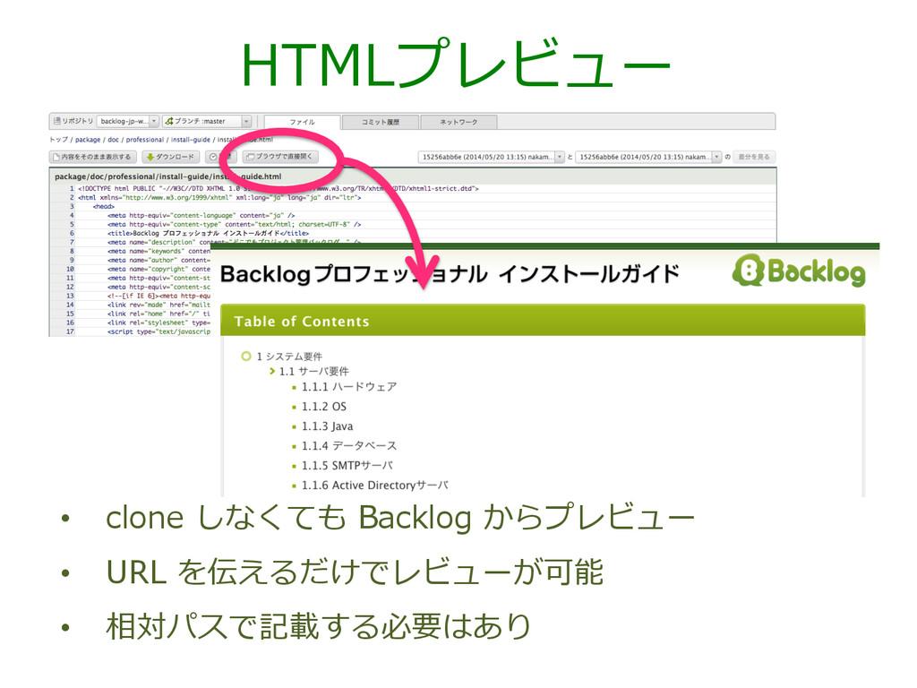 HTMLプレビュー • clone しなくても Backlog からプレビュー • ...